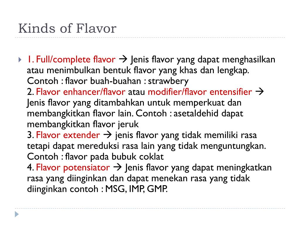 Kinds of Flavor