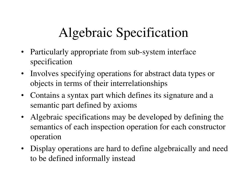 Algebraic Specification