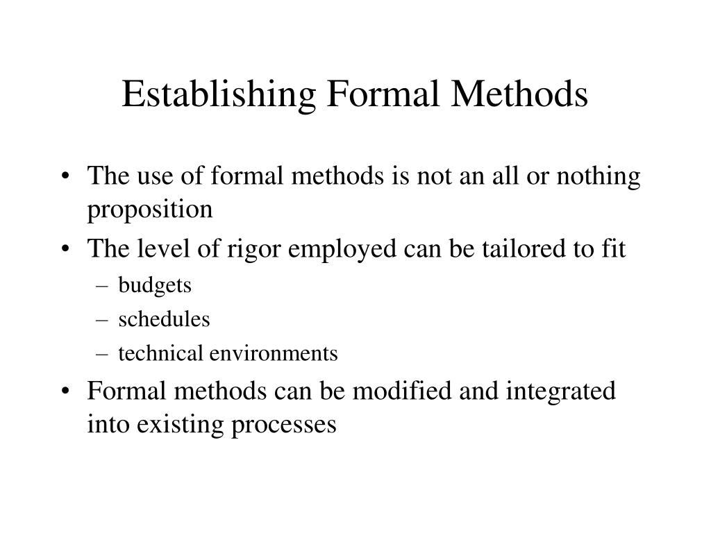 Establishing Formal Methods