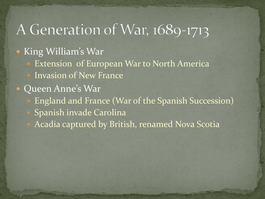 A Generation of War, 1689-1713