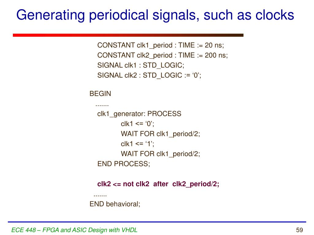 Generating periodical signals, such as clocks