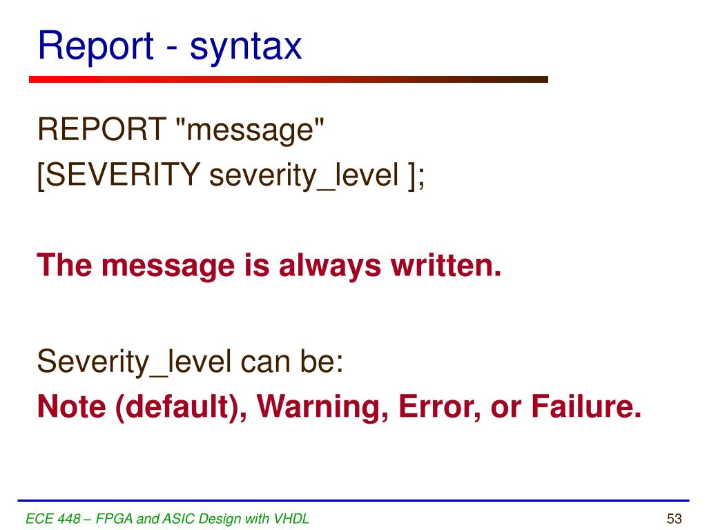 Report - syntax