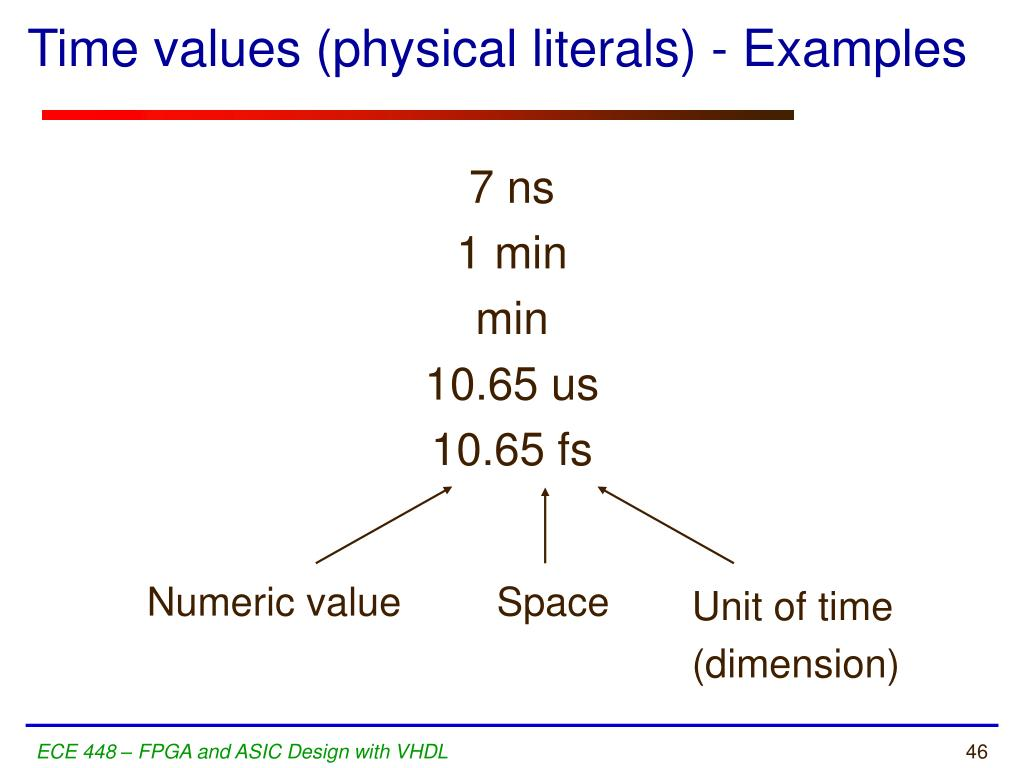Time values (physical literals) - Examples