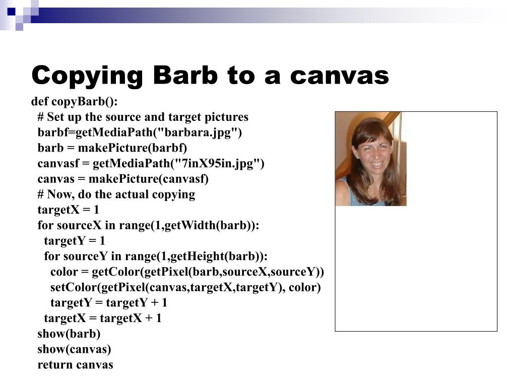 Copying Barb to a canvas