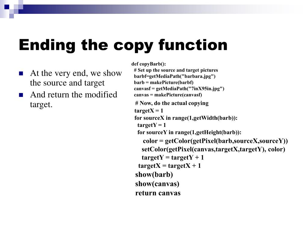 Ending the copy function