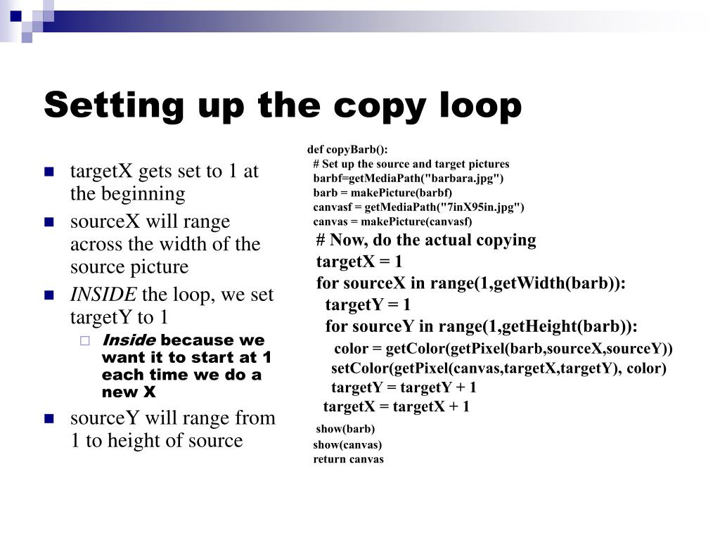 Setting up the copy loop