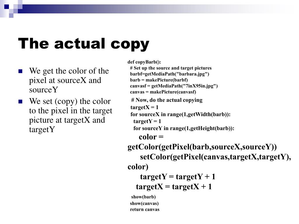 The actual copy