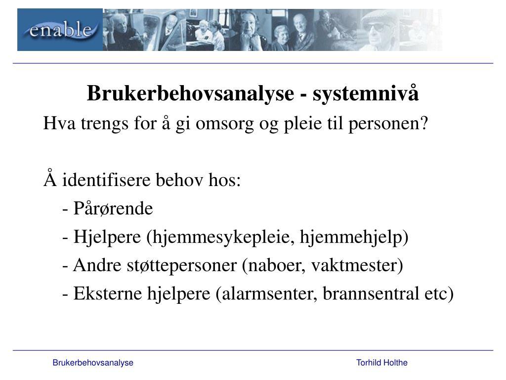Brukerbehovsanalyse - systemnivå