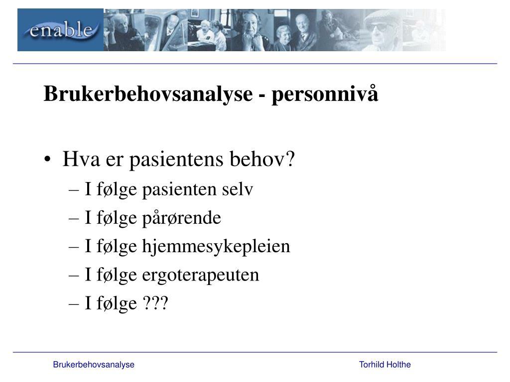 Brukerbehovsanalyse - personnivå