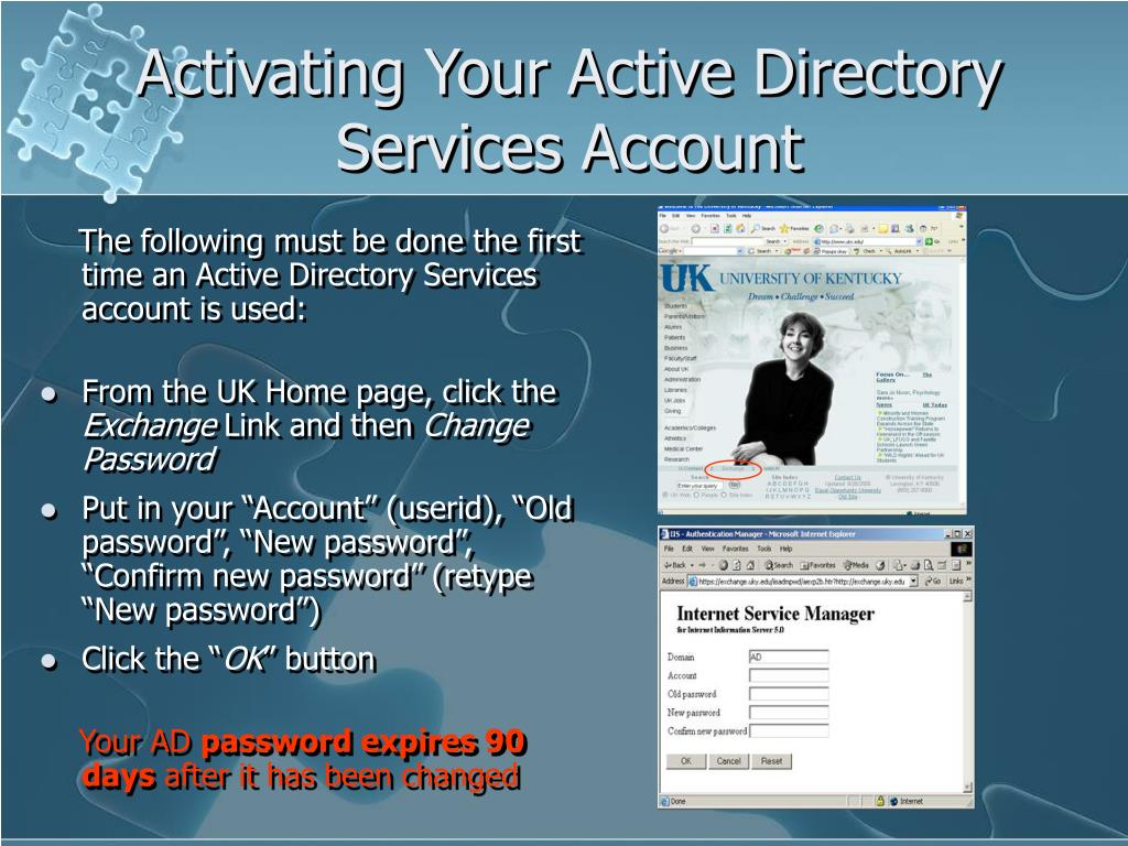 Activating Your Active Directory Services Account