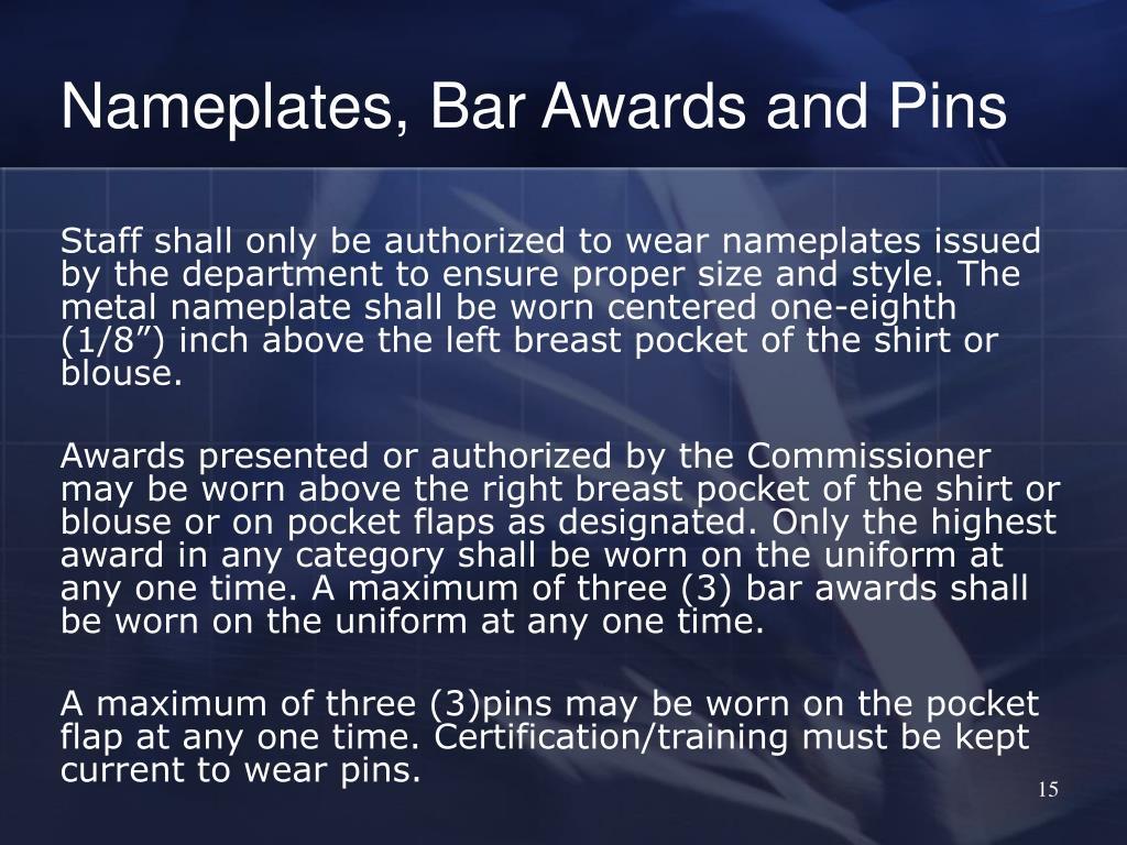Nameplates, Bar Awards and Pins