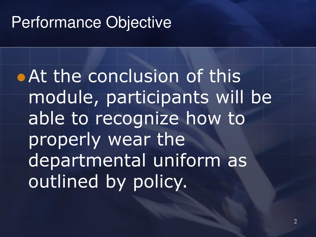 Performance Objective