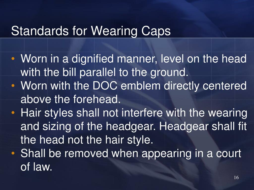 Standards for Wearing Caps