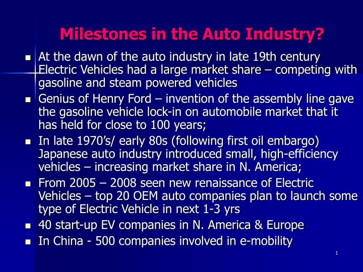 Milestones in the auto industry l.jpg