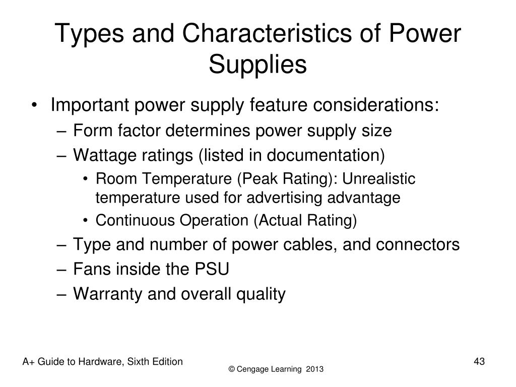 Types and Characteristics of Power Supplies