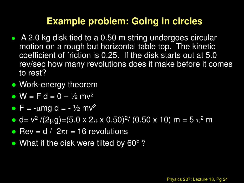 Example problem: Going in circles