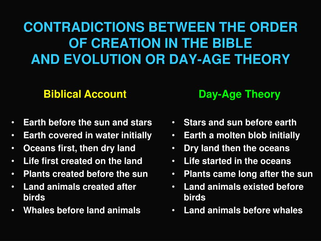the various contradictions between the theories of creation and evolution