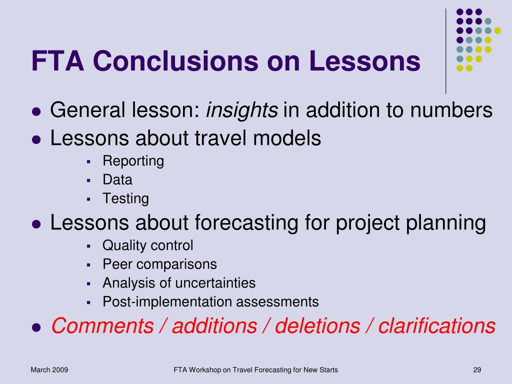 FTA Conclusions on Lessons