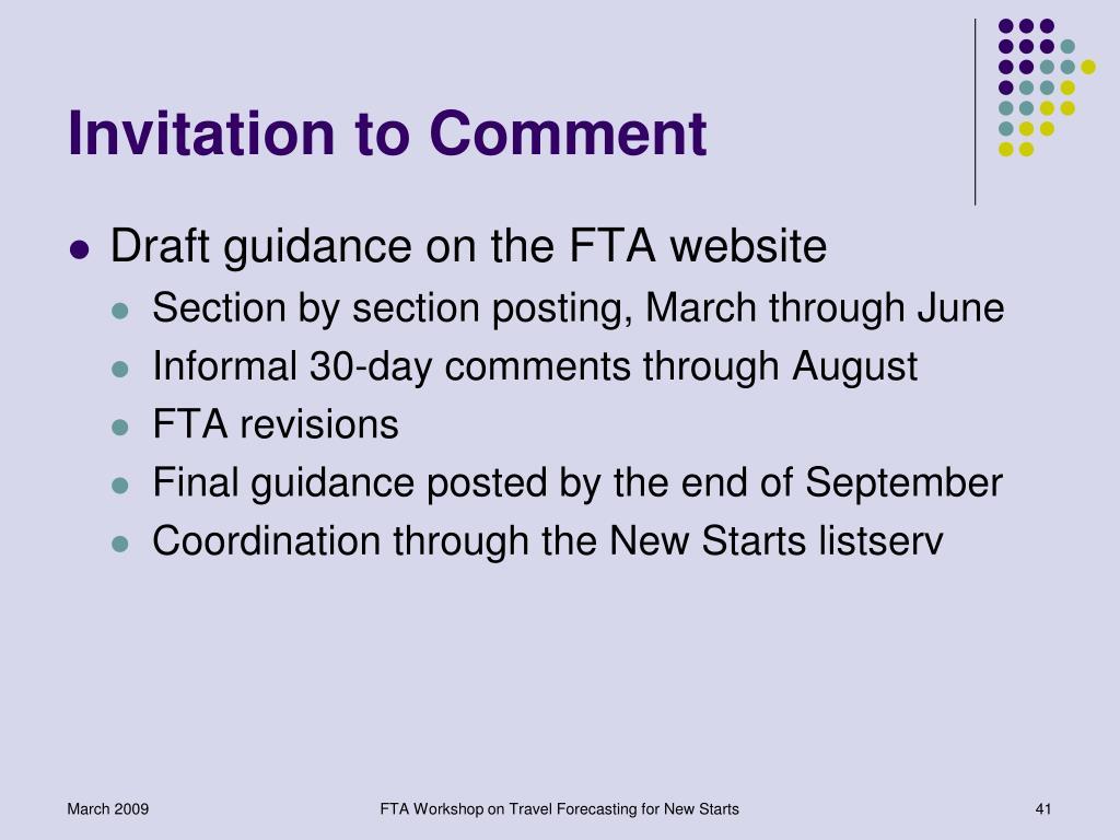 Invitation to Comment