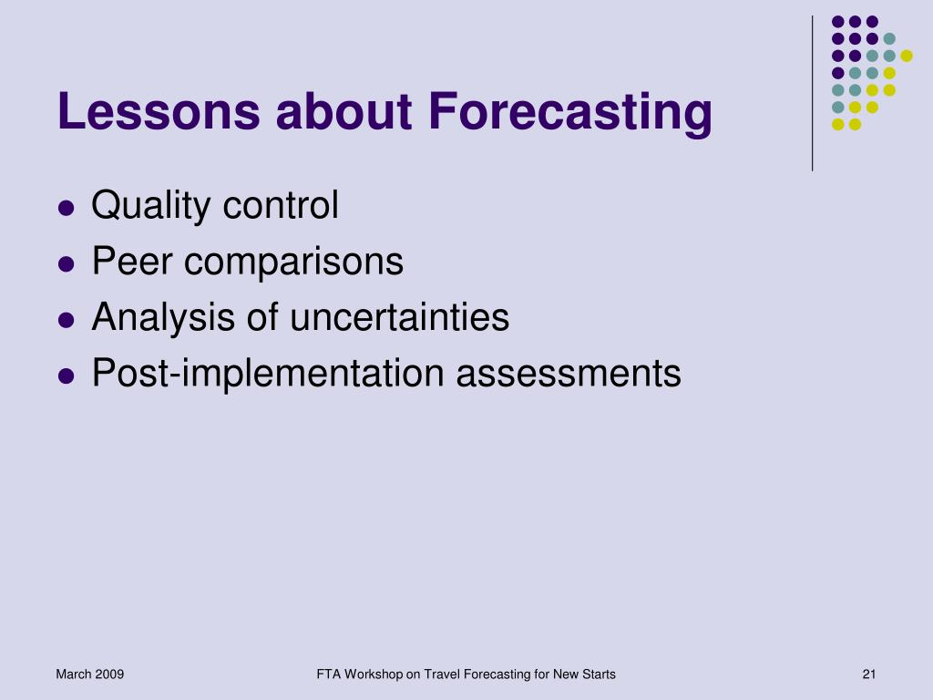 Lessons about Forecasting
