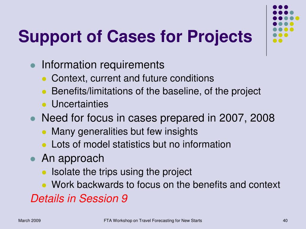 Support of Cases for Projects