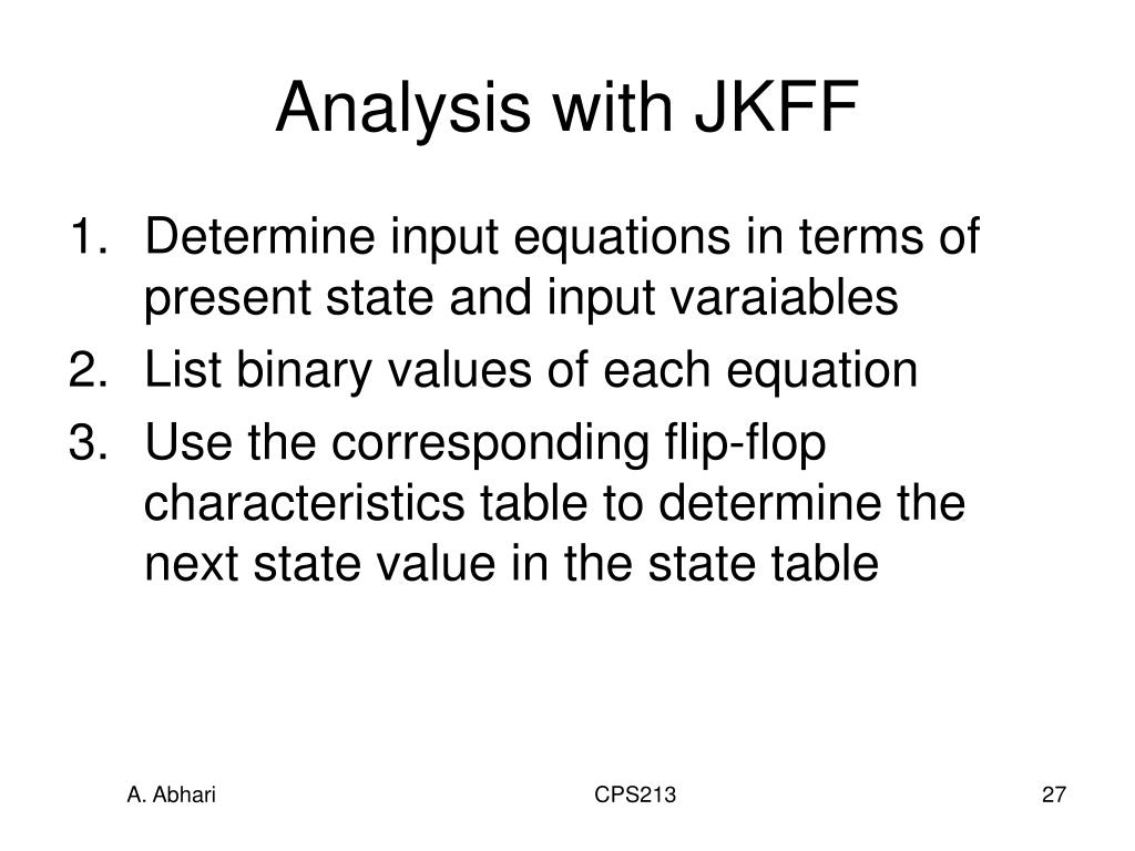 Analysis with JKFF