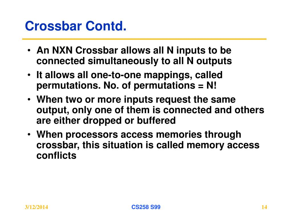 Crossbar Contd.