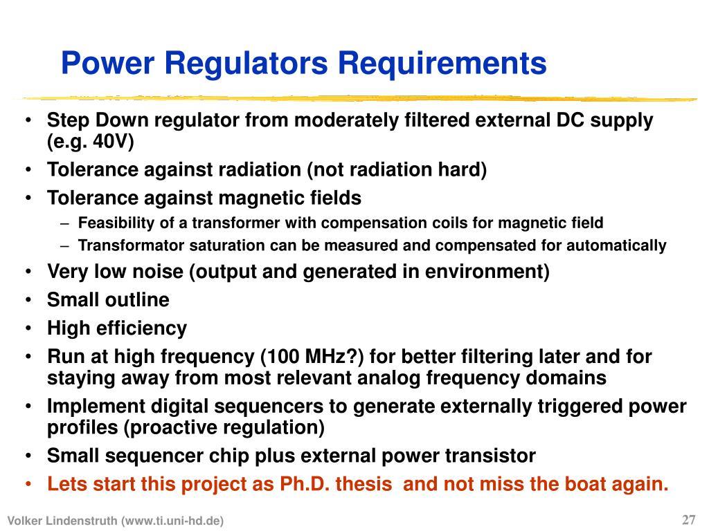 Power Regulators Requirements