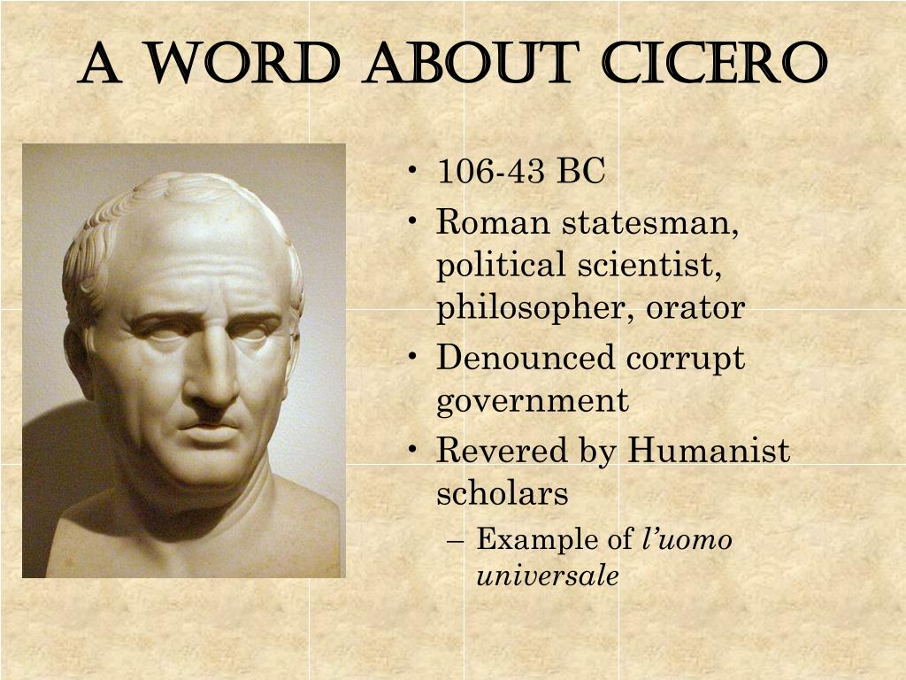 A Word about Cicero