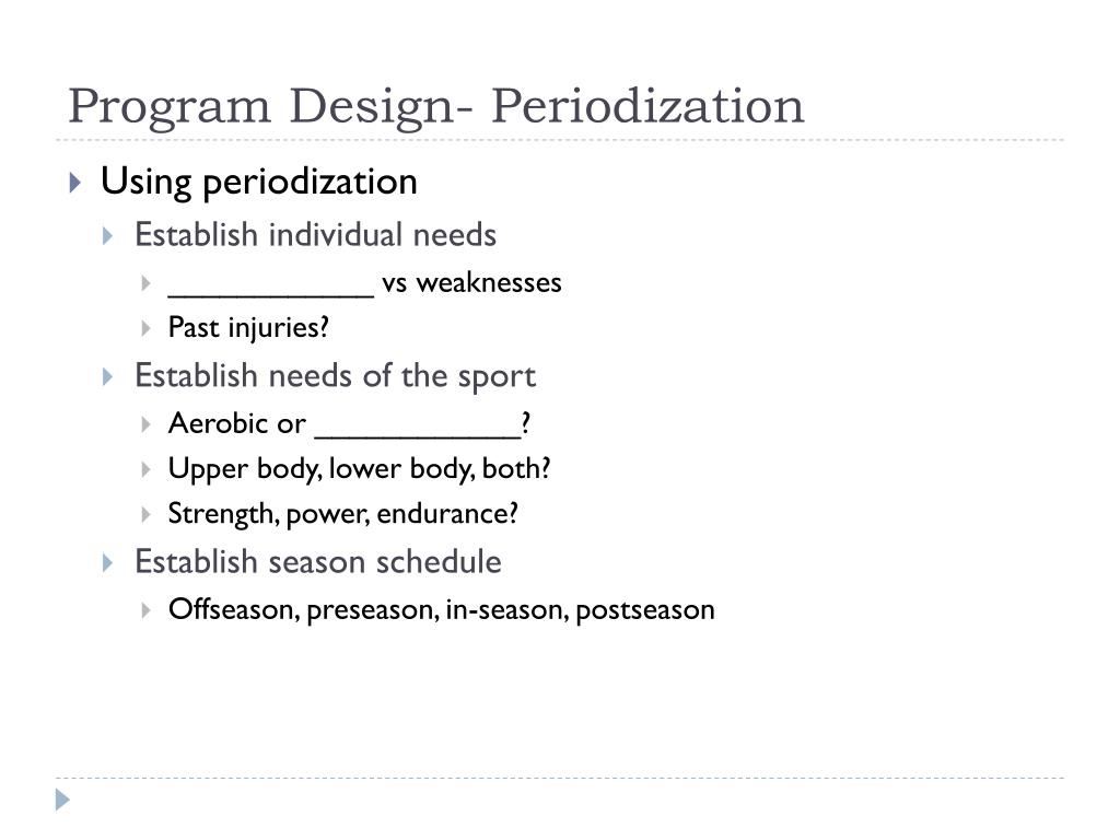 Program Design- Periodization