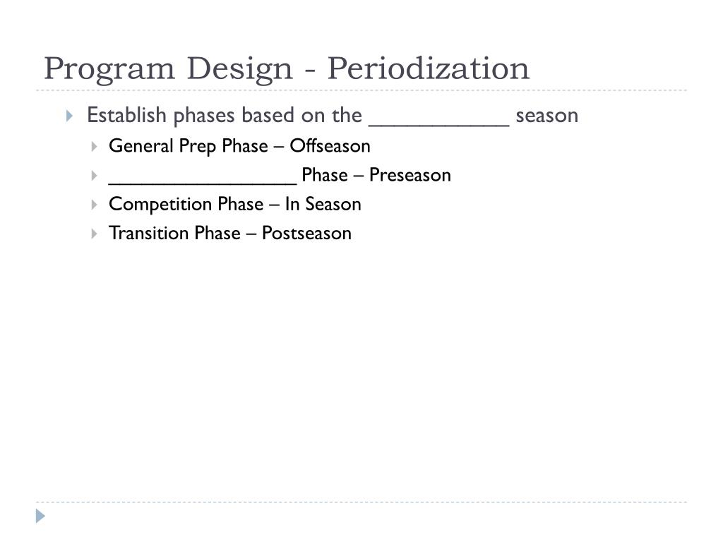 Program Design - Periodization