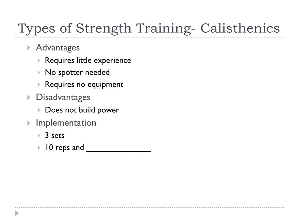Types of Strength Training- Calisthenics