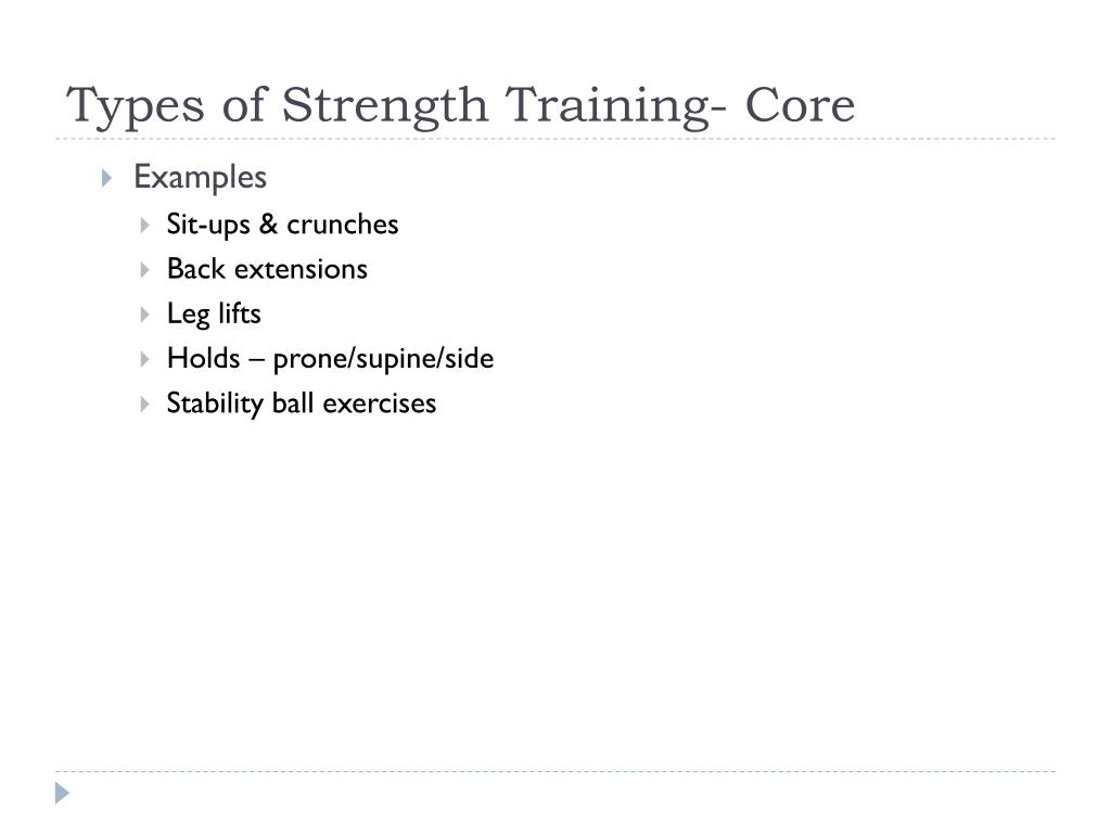 Types of Strength Training- Core