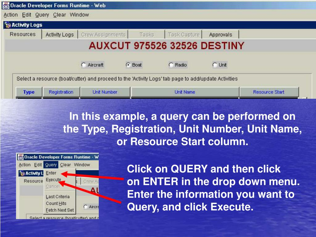 In this example, a query can be performed on the Type, Registration, Unit Number, Unit Name, or Resource Start column.