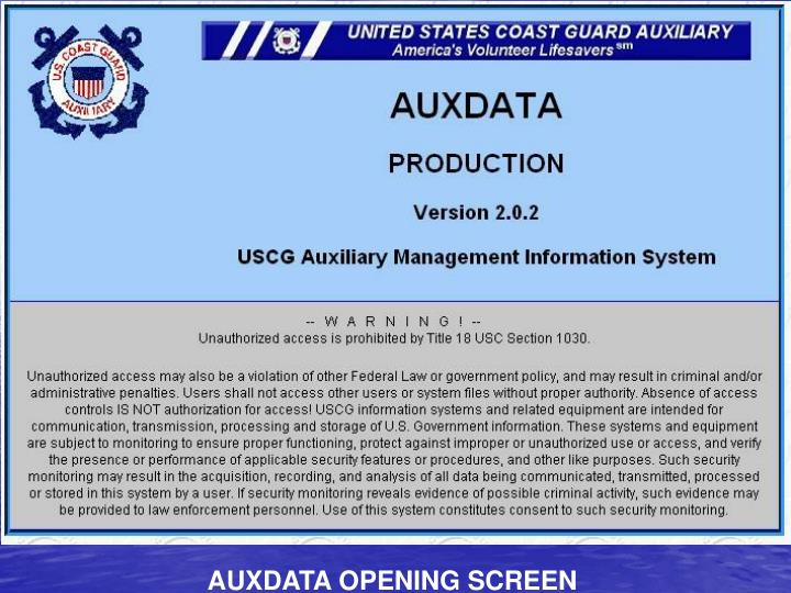 AUXDATA OPENING SCREEN