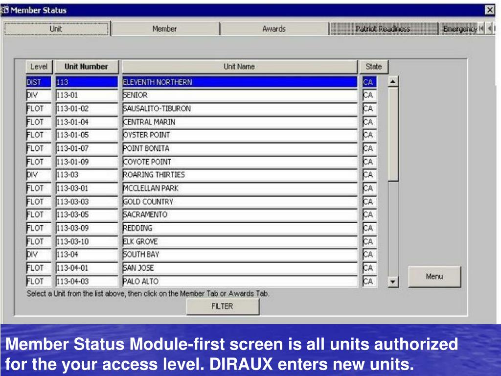 Member Status Module-first screen is all units authorized for the your access level. DIRAUX enters new units.