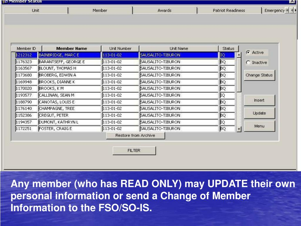 Any member (who has READ ONLY) may UPDATE their own personal information or send a Change of Member Information to the FSO/SO-IS.