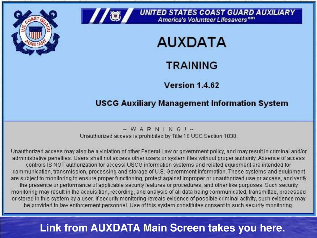 Link from AUXDATA Main Screen takes you here.