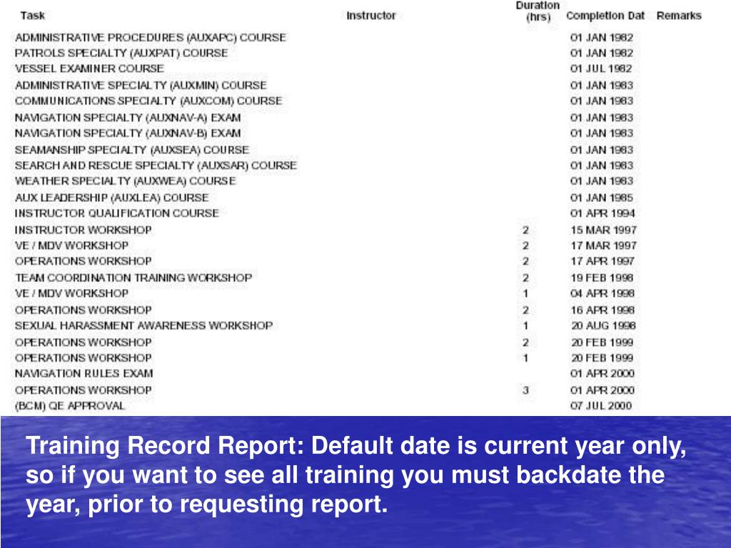 Training Record Report: Default date is current year only, so if you want to see all training you must backdate the year, prior to requesting report.