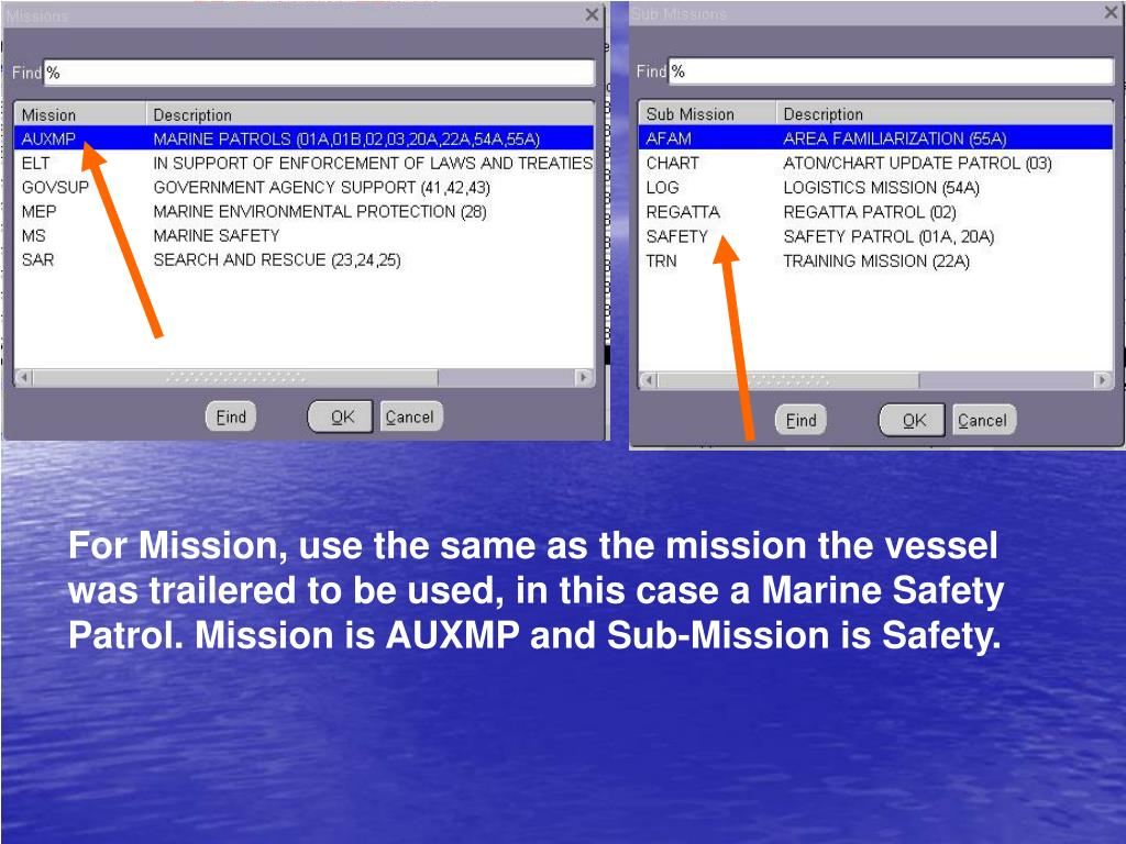 For Mission, use the same as the mission the vessel was trailered to be used, in this case a Marine Safety Patrol. Mission is AUXMP and Sub-Mission is Safety.