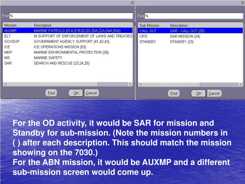 For the OD activity, it would be SAR for mission and Standby for sub-mission. (Note the mission numbers in ( ) after each description. This should match the mission showing on the 7030.)