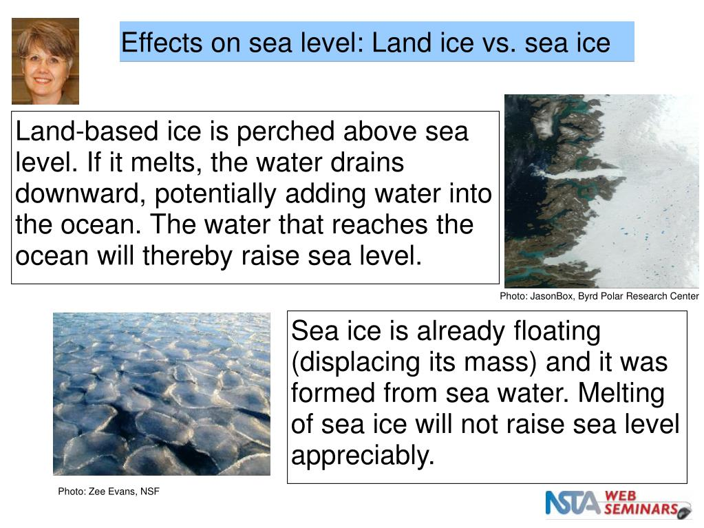 Effects on sea level: Land ice vs. sea ice