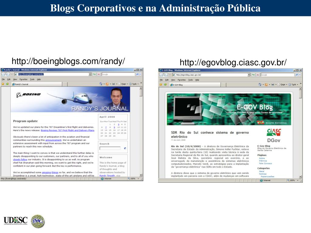 Blogs Corporativos e na Administração Pública