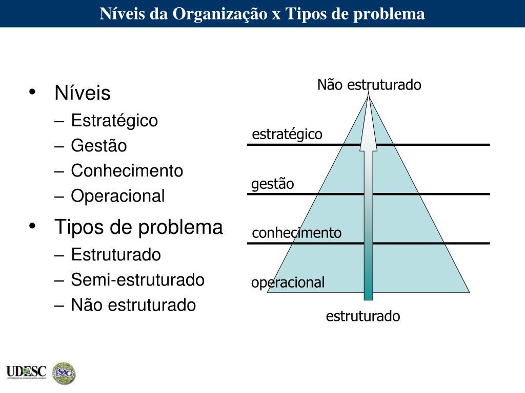 Níveis da Organização x Tipos de problema
