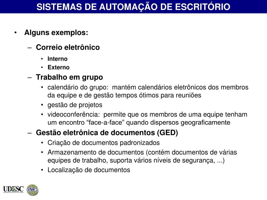 SISTEMAS DE AUTOMAÇÃO DE ESCRITÓRIO
