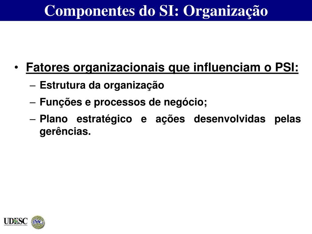 Componentes do SI: Organização