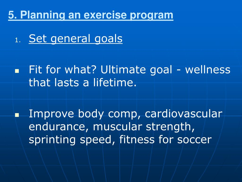 5. Planning an exercise program