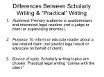 differences between scholarly writing practical writing