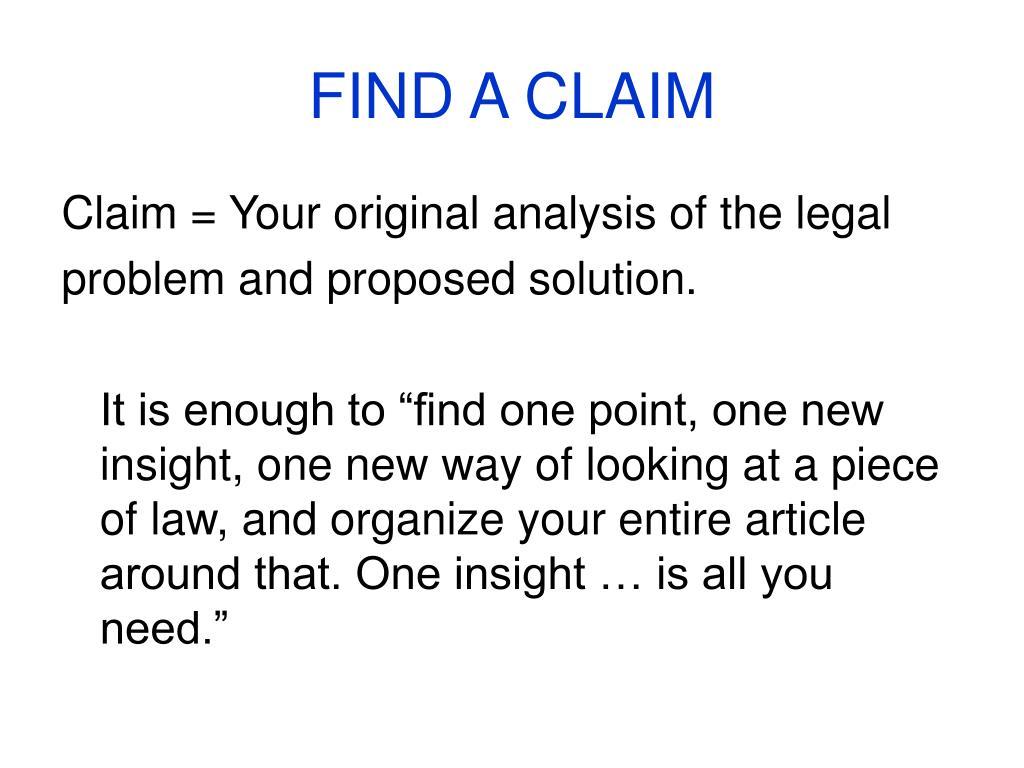 FIND A CLAIM