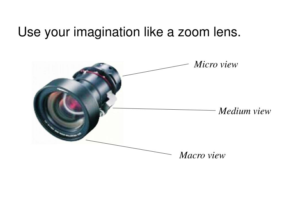 Use your imagination like a zoom lens.
